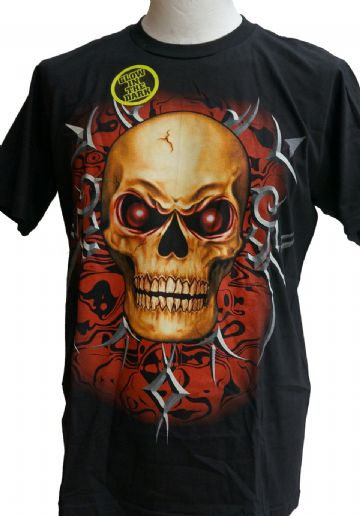 Red Eyed Skull ' Glow In The Dark ' T Shirt With Large Colour Back Print